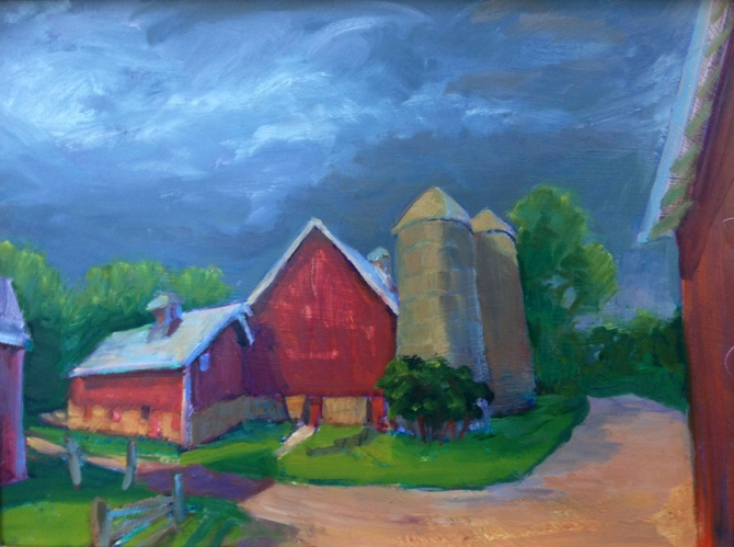 Stormy Day, Back Barn at Pitney Farm, oil on board by Tjelda vander Meijden