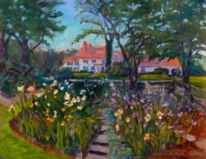 Pitney Farm, Cutting Garden, oil on board by Tjelda vander Meijden